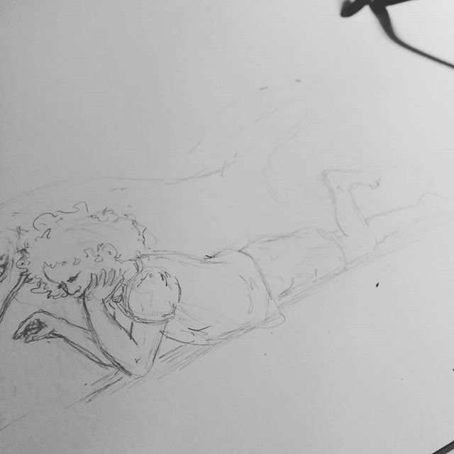 Finally getting back to work on my #childrensbook #danadreamedadragon . Just the rough #sketch. Took a month off but back on track. #pencil #sketchart #drawing #dragonbook #watchingsnails #illustration #childrensbookillustration #kidlitart #kids #child #watching