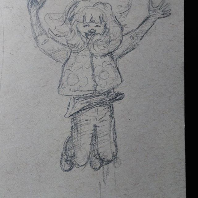 Today's #instagramkids #sketch inspired by @fisherfamadventures gorgeous photo. #pencil on #strathmore #tonedpaper #illustration #kidlit #kids #art #drawing #pencilsketch #expressions #jump #excited #joy #child #sketchbook