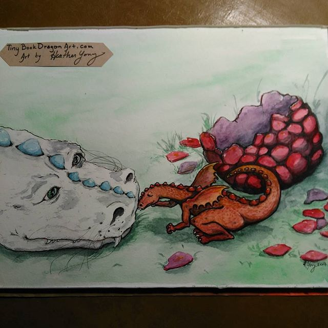 Boop!#Watercolor version. #artist #art #paint #painting #ink #gellyroll #Dragon #babydragon #story #dragonegg #instart