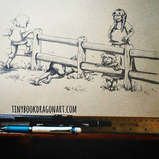 Day 3 of #thesketchcollective #febdrawingchallenge2017 : #Adventure.Going on a bear hunt. Gonna catch a big one.....#prismacolor #ink #tombow #marker #gellyroll on #strathmore #tonedpaper .#bearhunt #childrensbookillustration #childrensrhyme #nurseryrhyme #kids #play #drawing #drawingchallange #kidlitart #artist #illustration #childrensillustration #sketch #fence #climb #nature #unschooling #homeschooling