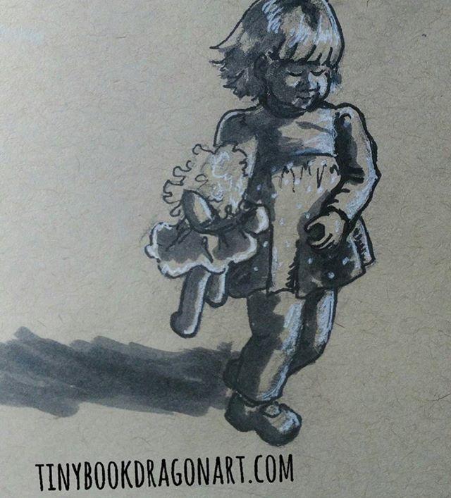 Another toddler, taking her doll for a walk.  Inspired by @the_yewtree .#drawing#art #illustration #illustrationart #kidlitart #play #magicalchildhood #childhoodunplugged #toddler #strathmore #tonedpaper #child #sketchbook #sketch