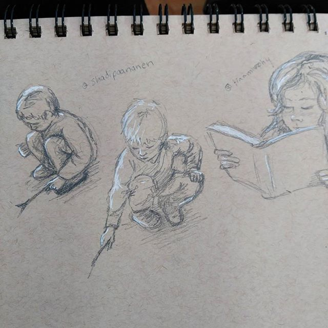 Today's #instagramkids #sketchart inspired by @shadipaananen and @tinamurphy #Art r #drawing #kids #unschooling #unschooled #children #illustration #sketchbook #sketch #reading #play #pencilsketch . #pencil & white #gellyroll on #strathmore #tonedpaper