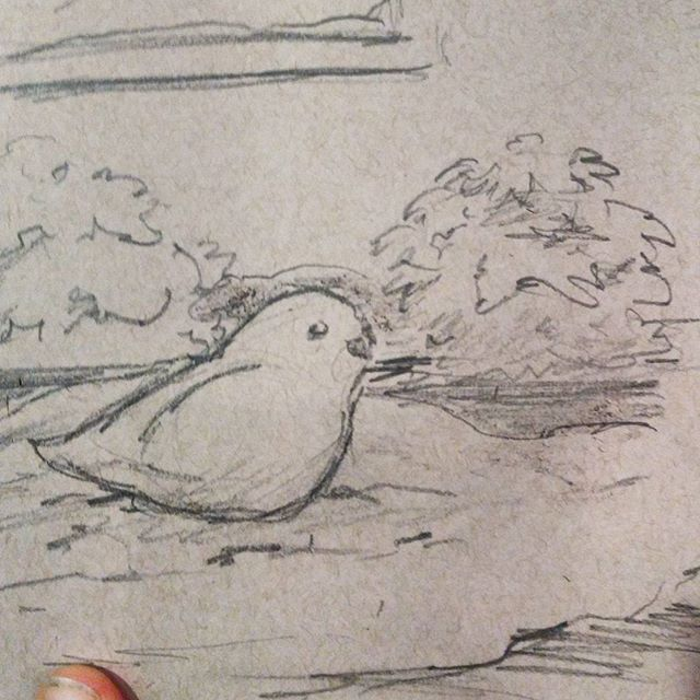 Es (@jellynerd ) made a #snowbird today which quickly got destroyed in a mis-aimed #snow toss by her brother so I thought I would immortalize it with a quick #sketch. But my white pencil is in the other room and I am comfy here on the couch. :) So you get a super quick pencil only sketch instead.#sketchbook #art #draw #illustration #bird #drawing #pencil on #strathmore #tonedpaper