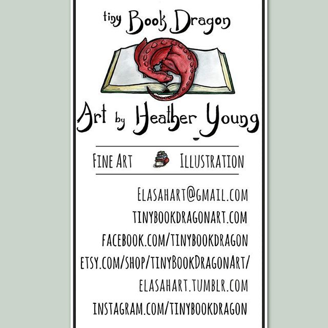 My new business card. Pretty happy with the new design. Don't love it as much as my previous business card (changing name from forgettable ElasahArt to Tiny Book Dragon Art, which is much more memorable and descriptive.) But it will do.#art #artistproblems #businesscards #drawing #Dragon #artist #book #watercolor #illustratorsoninstagram #illustration #design