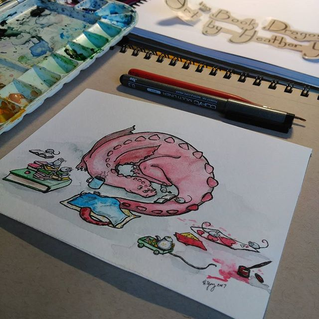 Working on new logo and a preparing for a giveaway all at the same time. #art #Watercolor#Dragon#mice #books #illustration #logo #artist #artwork #instart