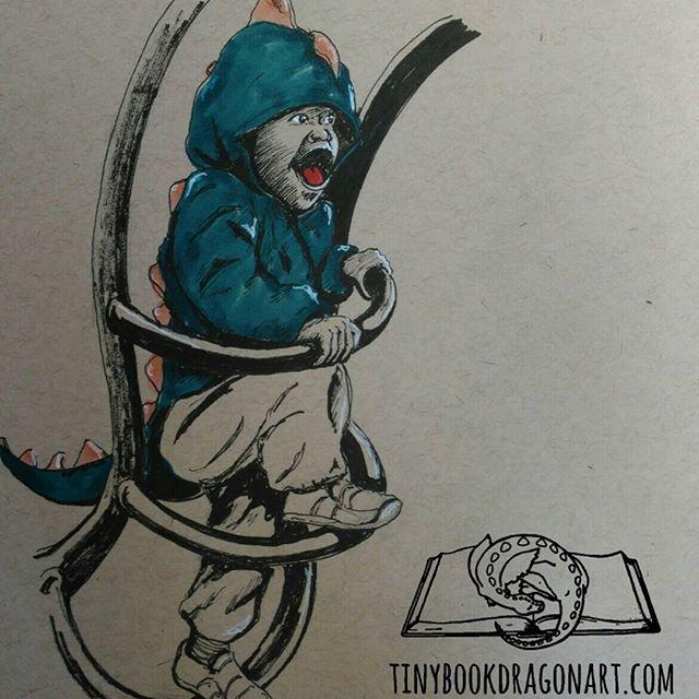 Rarrrr!Inspired by @redwoodapple s adorable little #Dragon (or #dinosaur -whichever he prefers). .#blickartmaterials #marker , #copic and #prismacolor #ink on #strathmore #tonedpaper .#drawing #sketch #sketchart #rarr #roar #toddler #monster #child #play #unschooling #homeschool #pretendplay #pretend #art #illustration #kidlitart