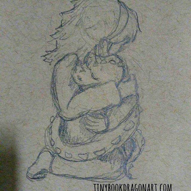 Day 13: secret weapon - a hug.#thesketchcollective #febdrawingchallenge2017 .A hug fixes Everything. .#pencilsketch #hug #mungothedestroyer #drawingchallange #drawing #art #kidlitart #illustration #pencil #Dragon