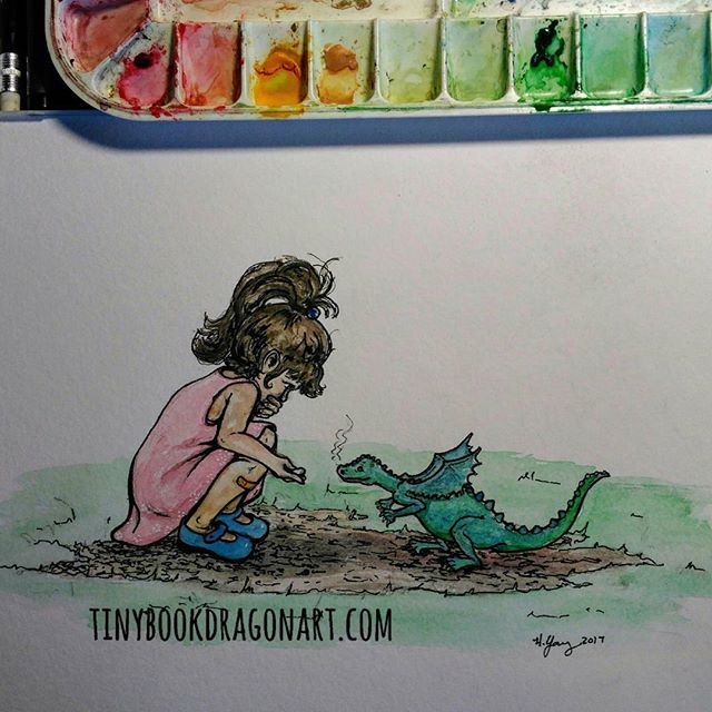 Making New Friends.#Watercolor #painting #art #Dragon #drawing #childhood #imagination #magic #bestfriend #gift #present #newfriends #illustration #ponytail