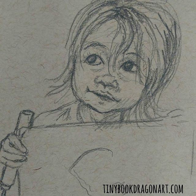 Inspired by my friend @staciemahoe 's adorable waif of a child. (None of her kids are actually waiflike but her youngest has these huge eyes....).#art #drawingpractice #sketchbook #sketch #child #kidlitart #childrensillustration #drawing #toddler #eyes