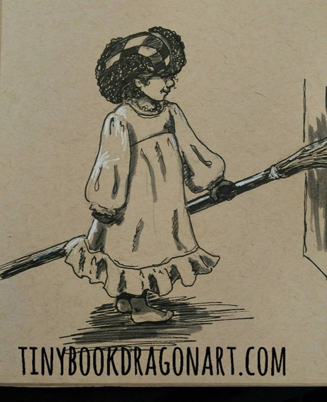 Toddler logic: of COURSE you wear your nightgown and your older brother's hat to sweep the refrigerator. Inspired by @tracilouwho and her adorable and creative Cuthbert.#art #illustration #toddler #penandink #penandpaper #prismacolor #ink #drawing #kidlitart #sketchbook #sketch