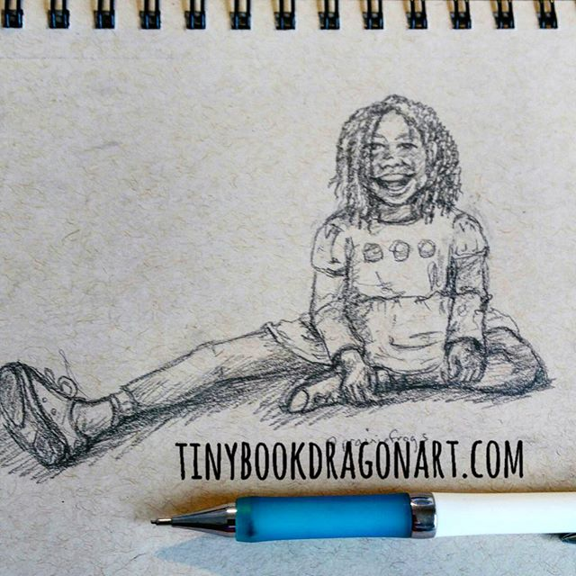 Utter joy. Inspired by @prairiefrogs , one of most constant encouragers. (Did an album cover for her ages ago.) I didn't capture Kiffanie perfectly but her hair is awesome. And she is a super happy kid, at least in photos. 😀 .#art #drawing #sketchbook #sketch #joy #happy #child #childhood #illustration