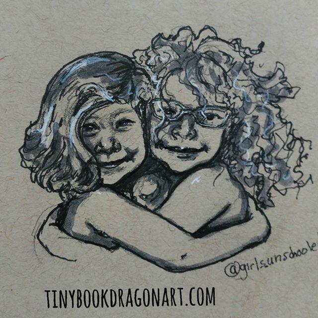 Sisterly love (momentarily). Inspired by @girls_unschooled and her super fun daughters..#art #artistofig #illustration #illustrationart #drawing #sketchbook #sketch #kidlitart #sisters #love #hug #curlyhair #naturalcurls