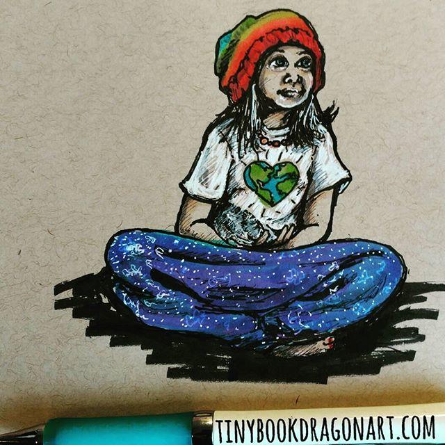 Peace..Inspired by @thefairlylocalvegan ..#ink #prismacolor #rainbow #hippychild #earth #peace #strathmore #tonedpaper #gellyroll #blickartmaterials #markers #contemplate #listen #art #drawing #illustration #illustrationart #sketchbook #sketch