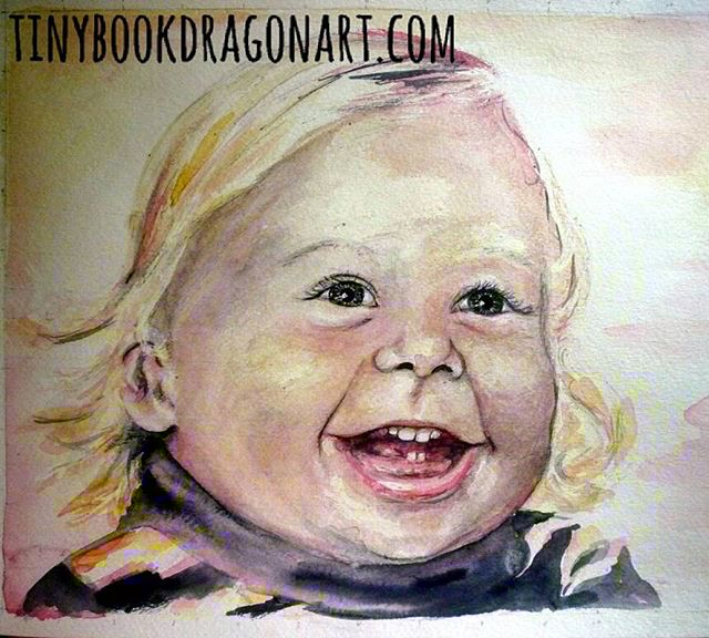 Happy..A 3 color Watercolor portrait I did for my husband's 40th birthday a few years back (I did 1 from each decade he has been alive.).#oldart #oldpainting #Watercolor #Portrait #baby #toddler #fineart #fineartist #curls #blonde